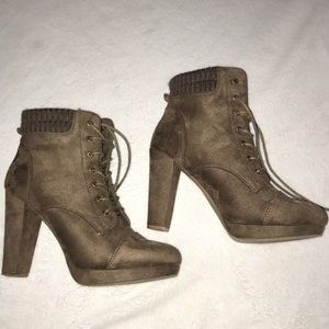 Light brown lace up booties